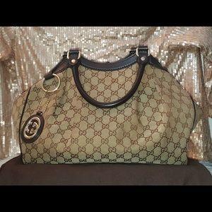 Authentic Gucci Canvas Sukey tote